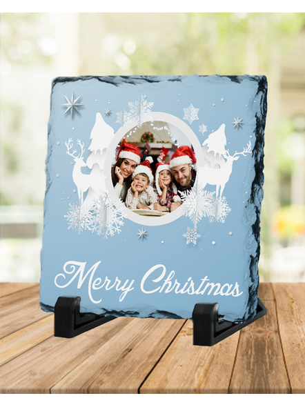 Merry Christmas White Themed Personalized Square Rock Stone-SQRFOTOR0009A