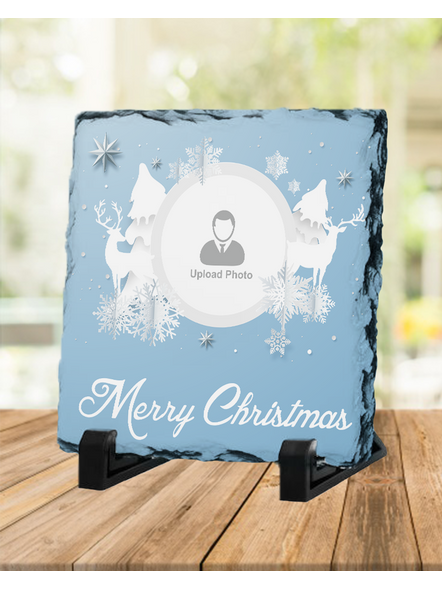 Merry Christmas White Themed Personalized Square Rock Stone-1