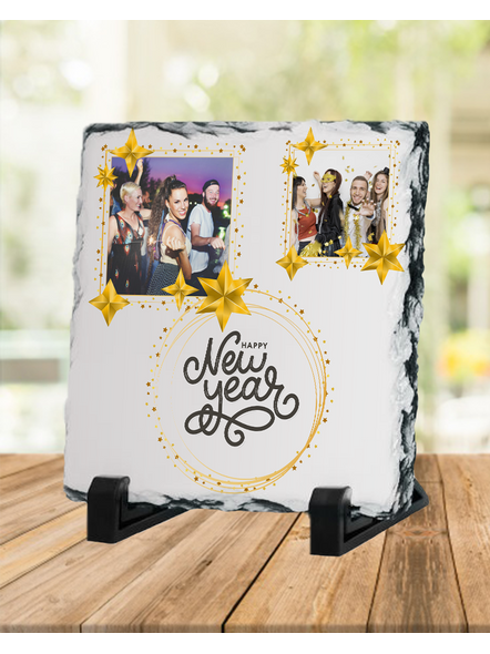 Happy New Year Star Theme Personalized Square Photo Rock Stone-SQRFOTOR0021A