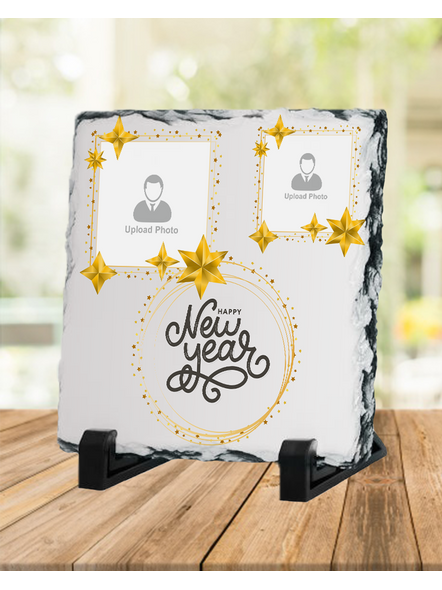 Happy New Year Star Theme Personalized Square Photo Rock Stone-1