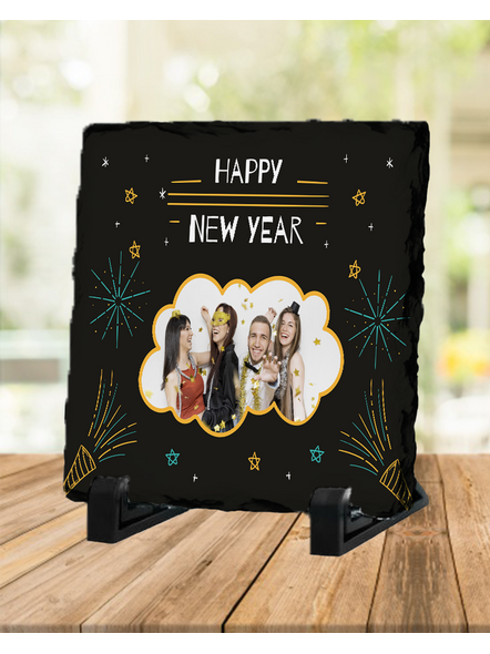 Happy New Year Themed Personalized Square Rock Stone-SQRFOTOR0022A