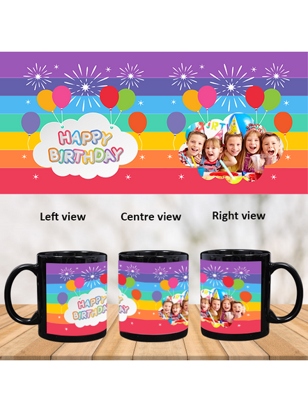 Happy Birthday Colorful Balloons Personalized Black Patch Mug-1