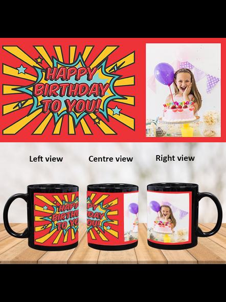 Red Rays Happy Birthday Personalized Black Patch Mug-1