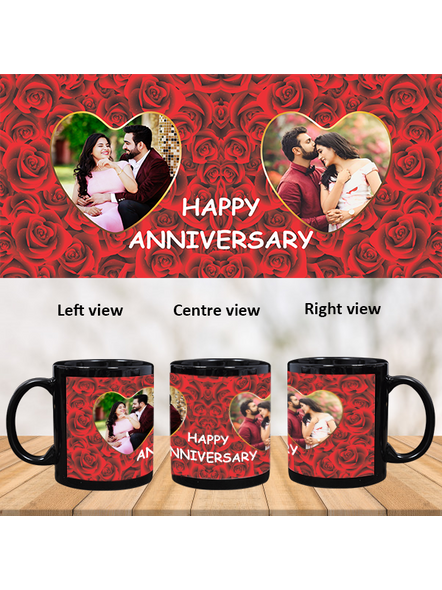 Red Roses Designer Personalized Black Patch Mug-1