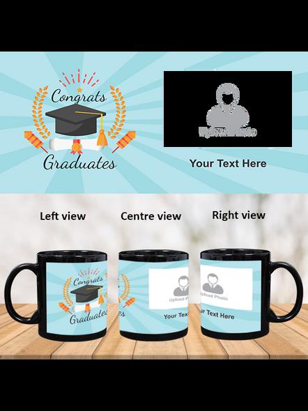 Congrats Graduates Printed Customized Black Patch Mug-PBM0010A