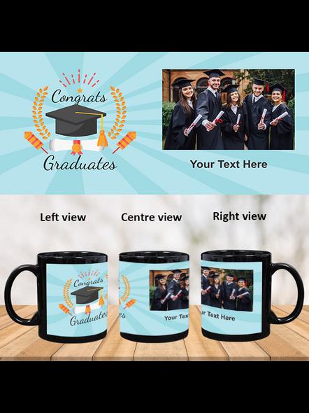 Congrats Graduates Printed Customized Black Patch Mug-1