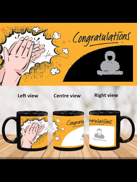 Clapping Congratulations Printed Customized Black Patch Mug-PBM0011A