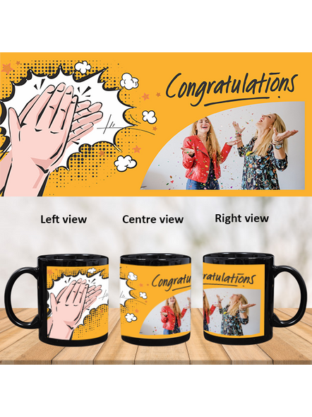 Clapping Congratulations Printed Customized Black Patch Mug-1
