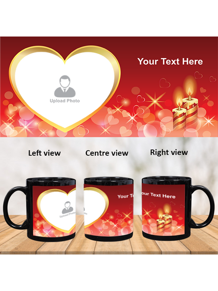 Candles Blowing Hearts Personalized Black Patch Mug-PBM0022A