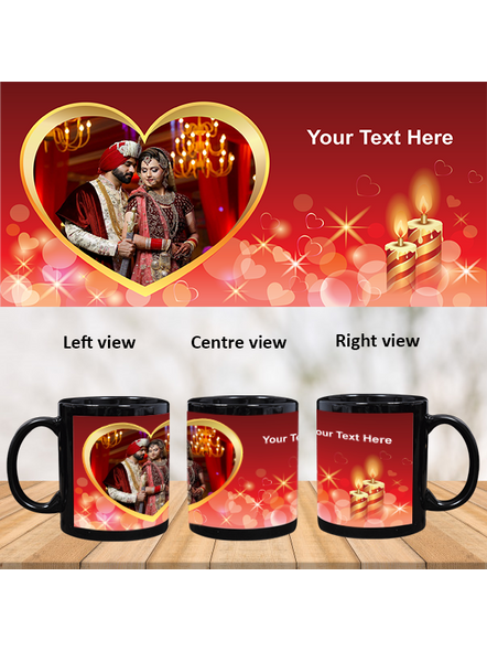 Candles Blowing Hearts Personalized Black Patch Mug-1