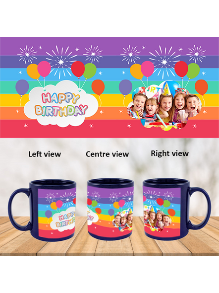 Happy Birthday Colorful Baloons Personalized Blue  Patch Mug-1