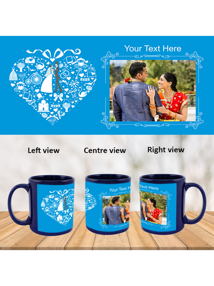 Wedding Couple Designer Personalized Blue Patch Mug-1