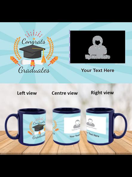 Congrats Graduates Printed Customized Blue Patch Mug-PBLM0010A