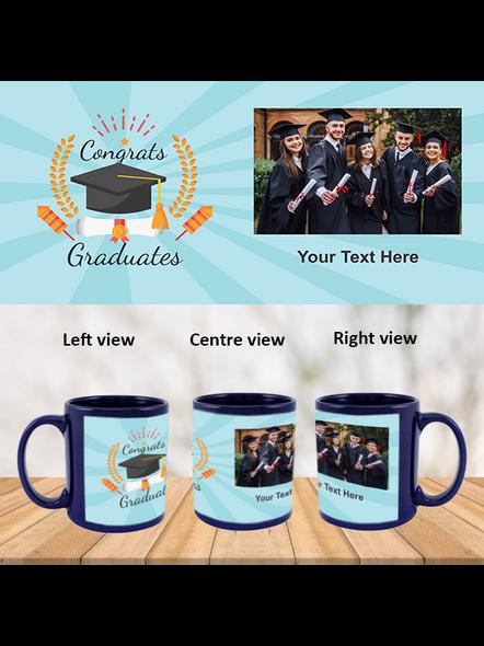 Congrats Graduates Printed Customized Blue Patch Mug-1