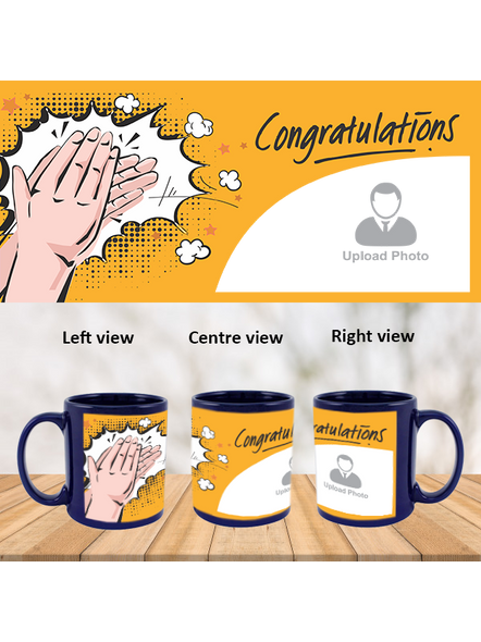 Clapping Congratulations Personalized Blue Patch Mug-PBLM0011A