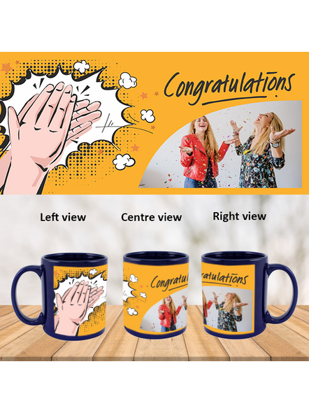 Clapping Congratulations Personalized Blue Patch Mug-1