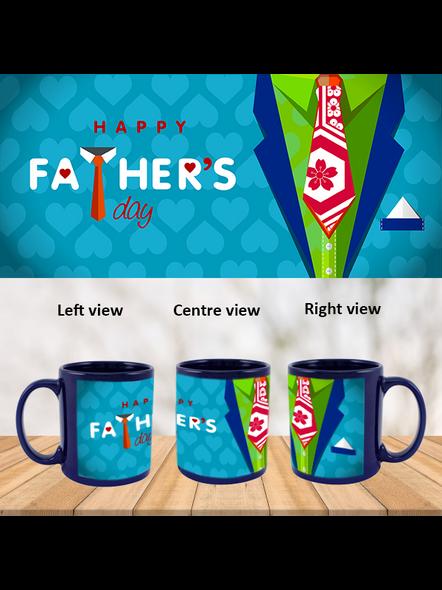 Happy Father's Day Designer Printed Blue Patch Mug-PBLM0020A
