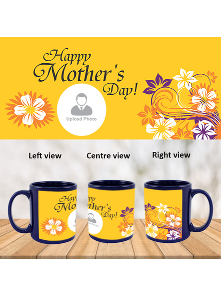 Happy Mother's day Personalized Blue Patch Mug-PBLM0023A