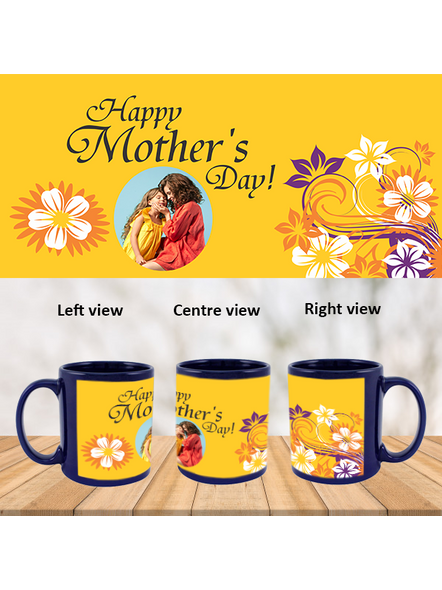 Happy Mother's day Personalized Blue Patch Mug-1