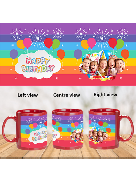 Happy Birthday Colorful Balloons Customized Red Patch Mug-1