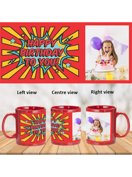 Red Rays Happy Birthday Personalized Red Magic Mug-1