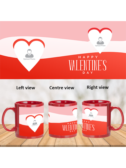 Multi Hearts Designer Valentines Day Customized Red Patch Mug-PRM0005A