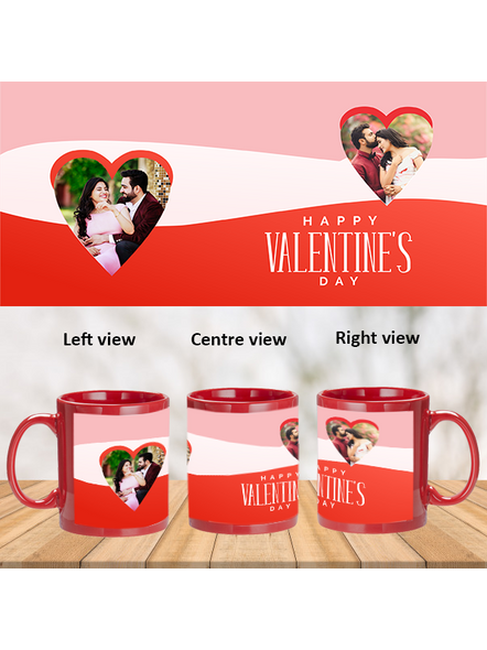 Multi Hearts Designer Valentines Day Customized Red Patch Mug-1