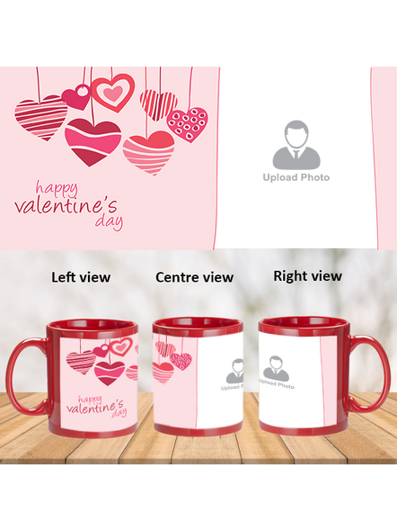 Hanging Hearts Designer Personalized Red Patch Mug-PRM0008A