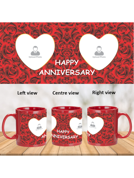 Red Roses Designer Personalized Red Patch Mug-PRM0009A