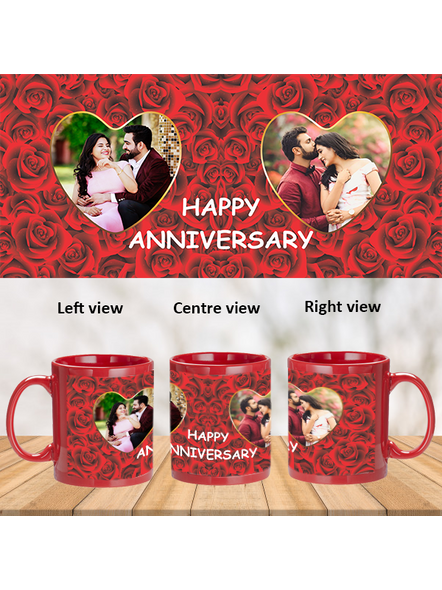 Red Roses Designer Personalized Red Patch Mug-1