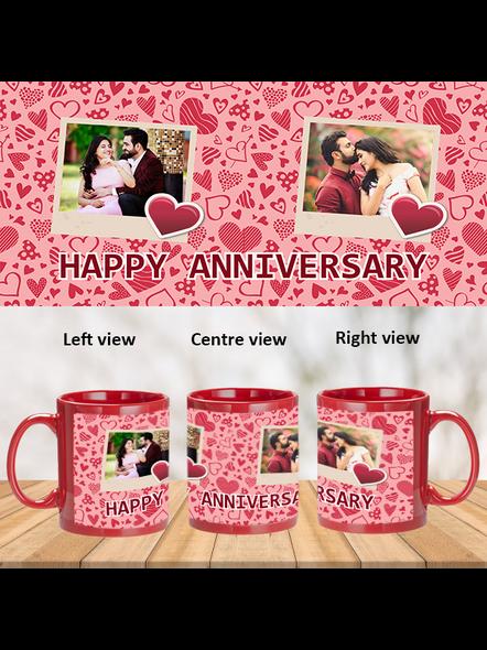Super Love Designer Happy Anniversary Red Patch Mug-1
