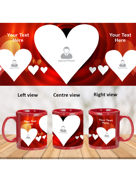 Multi Hearts Valentines Day Personalized Red Patch Mug-PRM0012A