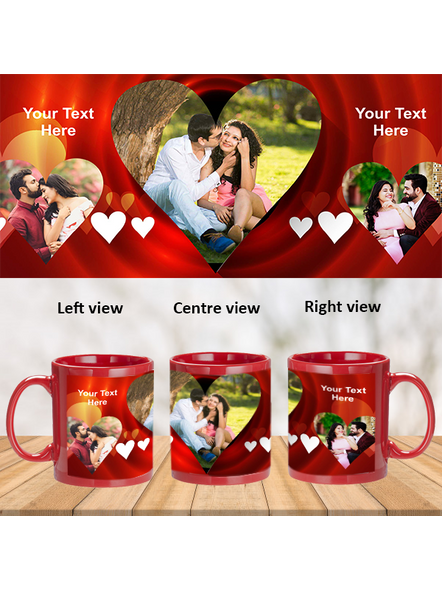 Multi Hearts Valentines Day Personalized Red Patch Mug-1