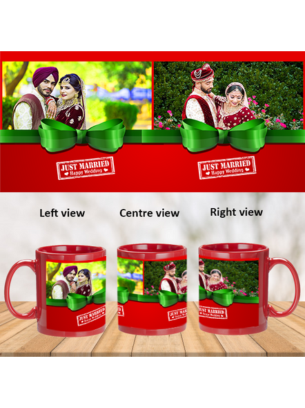 Just Married Happy Wedding Personalized Red Patch Mug-1