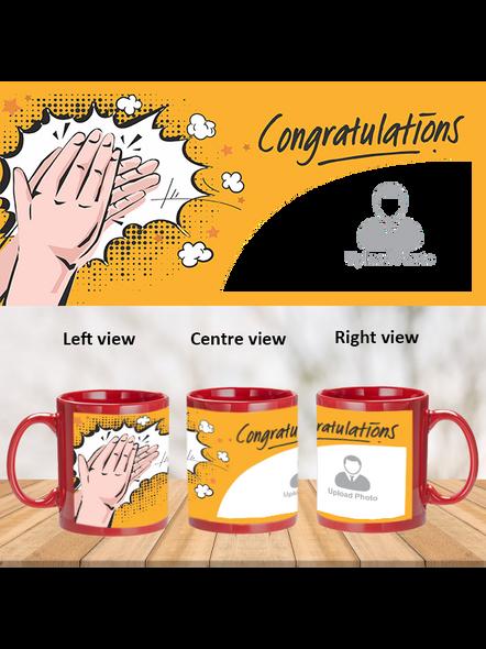 Clapping Congratulations Designer Red Patch Mug-PRM0014A