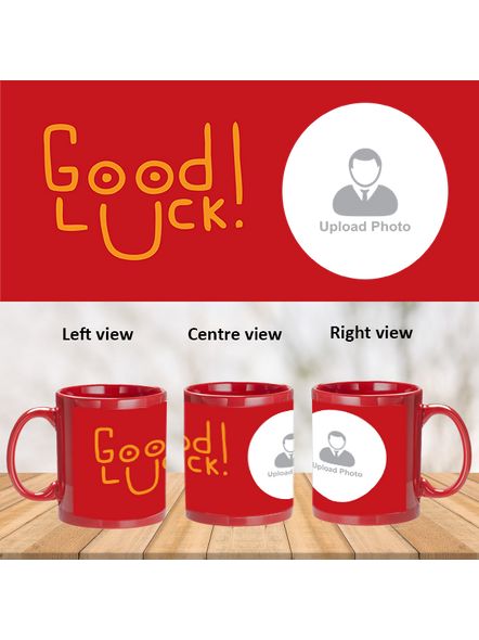 Good Luck Designer Personalized Red Patch Mug-PRM0015A