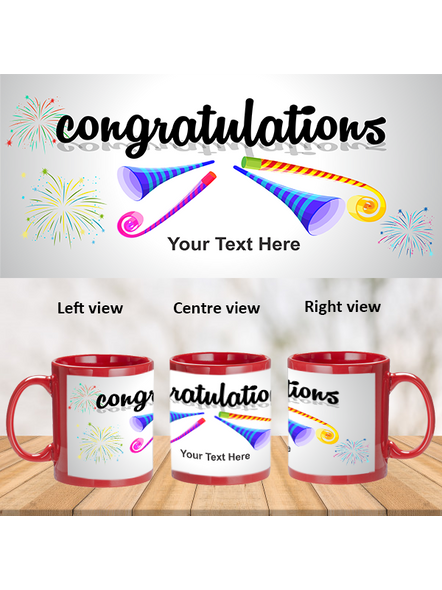 Blowing Trumpet Congratulations Printed Red Patch Mug-PRM0019A