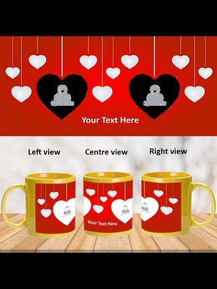 Multi Hanging Hearts Personalized Yellow Patch Mug-PYM0004A