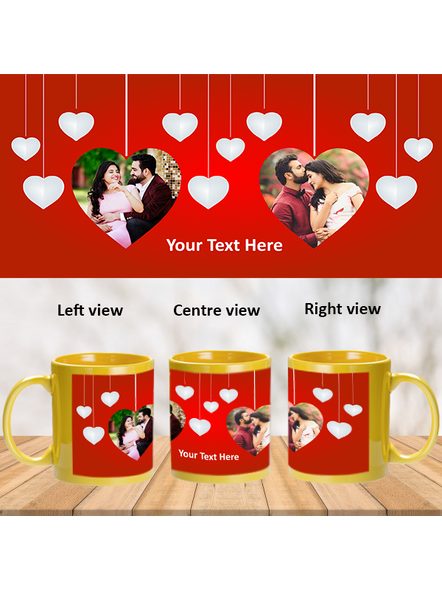 Multi Hanging Hearts Personalized Yellow Patch Mug-1