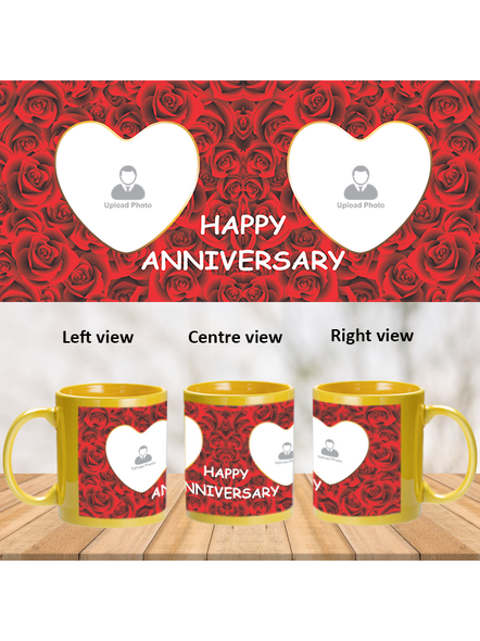 Red Roses Designer Personalized Yellow Patch Mug-PYM0005A