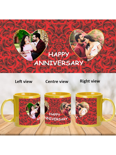 Red Roses Designer Personalized Yellow Patch Mug-1