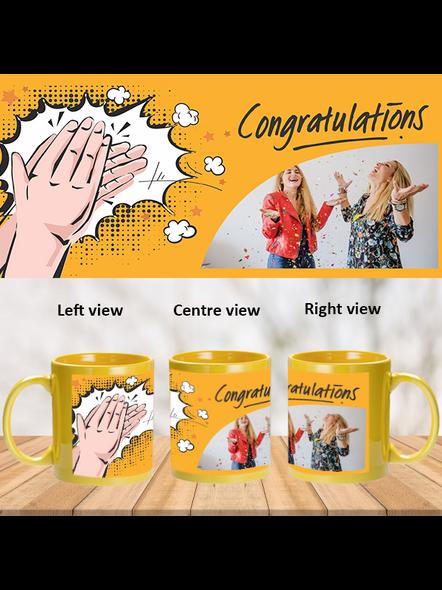 Clapping Congratulations Designer Yellow Patch Mug-1