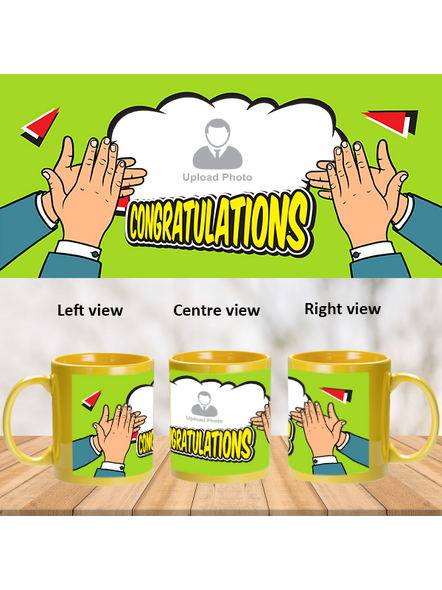 Many Congratulations Clapping Printed Yellow Patch Mug-PYM0009A