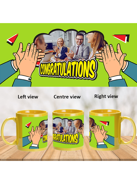 Many Congratulations Clapping Printed Yellow Patch Mug-1
