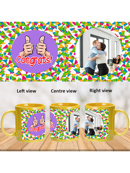 Thumbs up Designer Yellow Patch Mug-1