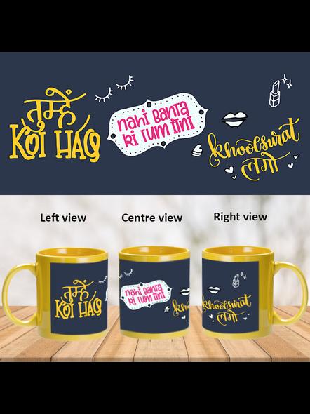 Tum Khoobsurat Ho Designer Yellow Patch Mug-PYM0012A