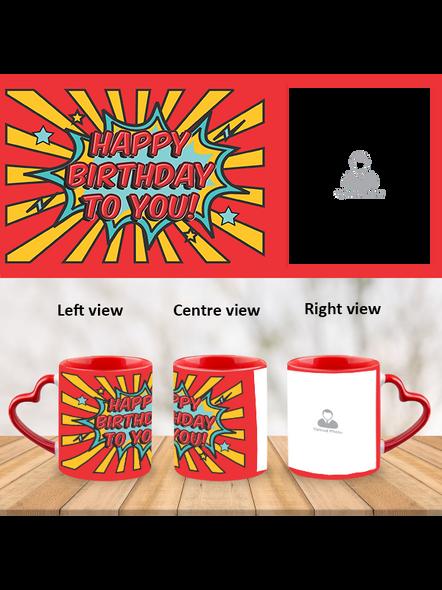 Red Rays Happy Birthday Customized Heart Handle Mug-HM0002A-1