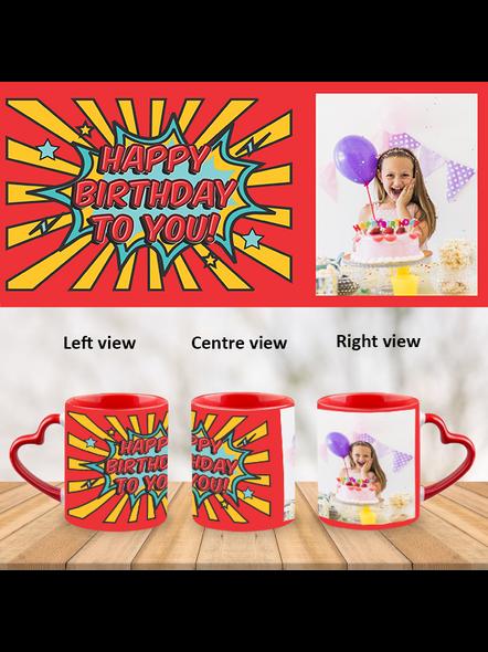 Red Rays Happy Birthday Customized Heart Handle Mug-Red Inner & Handle-1