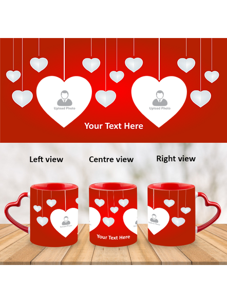Valentines Red Heart customized Heart Handle Mug-HM0003A-1