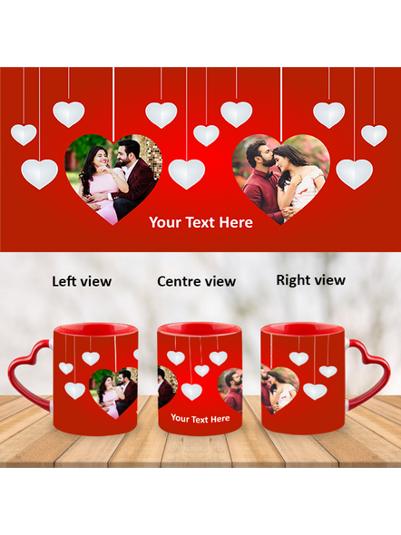 Valentines Red Heart customized Heart Handle Mug-Red Inner & Handle-1